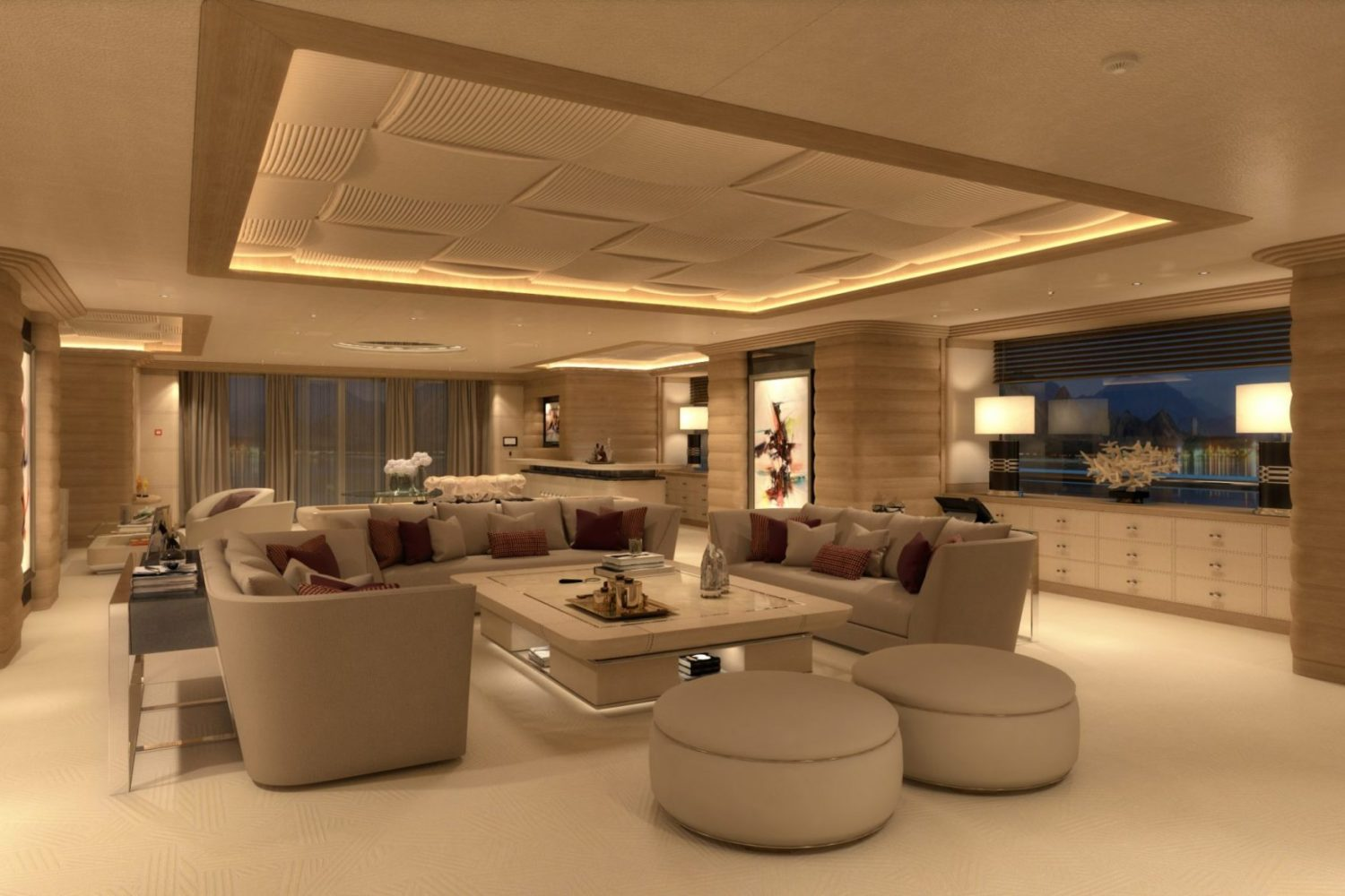 LANA Main deck Salon Benetti and Imperial