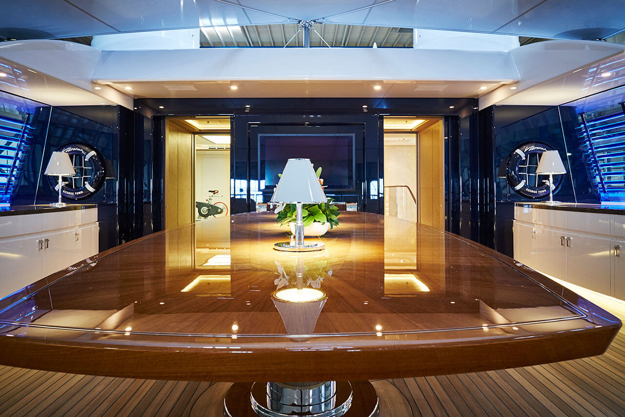 Large feadship Vanish Cantalupi luxury yacht lights
